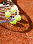 Close up view of tennis racket and balls — Foto Stock