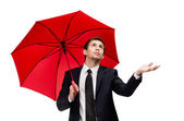 Palming up businessman with opened umbrella checks the rain — Foto de Stock