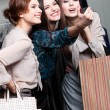 Girls photo session after shopping — Stock Photo