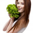 Woman hands fresh lettuce leaves — Stock Photo #13865899