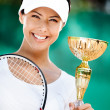 Professional tennis player won competition — Stock Photo #13866998