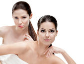 Half length portrait of two half naked women — Stock Photo