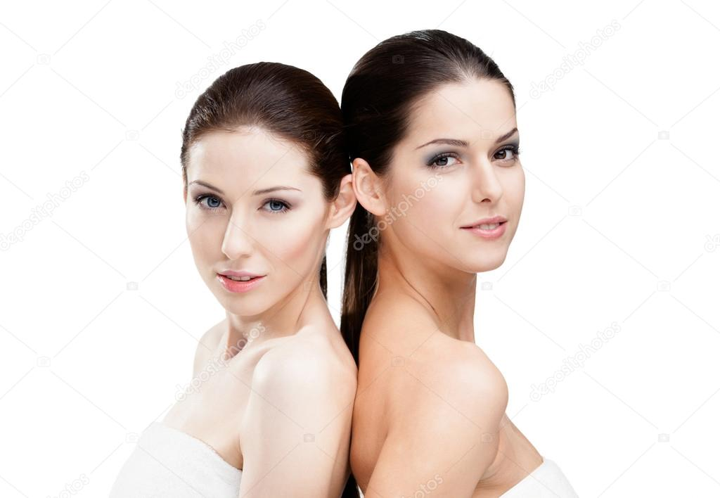 Half length portrait of two half naked women who are ready for beauty procedures, isolated on white — Stock Photo #13865736