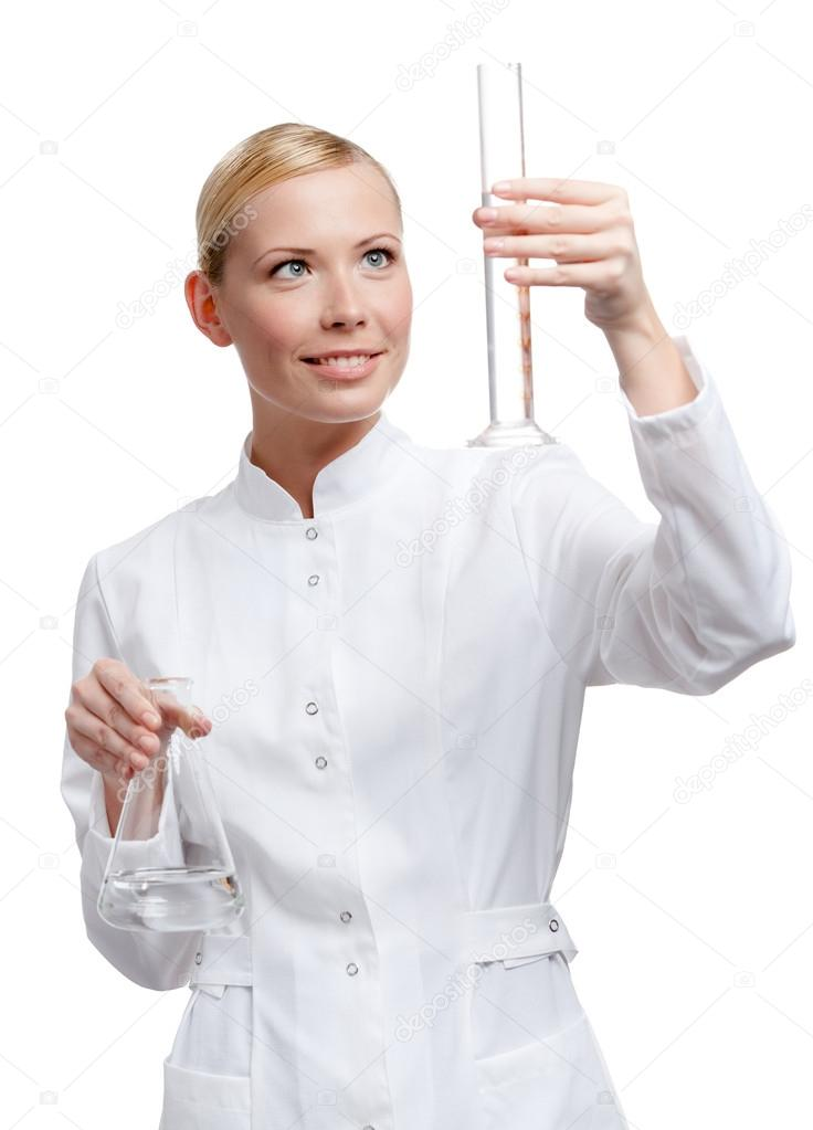 Lady doctor hands measuring cylinder and Erlenmeyer flask, isolated on white — Stock Photo #13866086