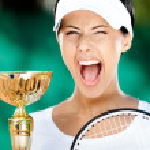 Tennis player won the match — Stock Photo