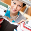 Stock Photo: Reading book pretty female student