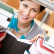 Reading book pretty female student — Stock Photo