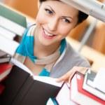 Reading book pretty female student — Stock Photo