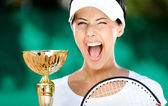 Giocatore di tennis ha vinto la partita — Foto Stock