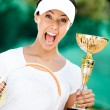 Tennis player won competition — Stock Photo #14339055