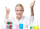 Lovely medical female researcher — Stock Photo