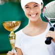 Female tennis player won the tournament — Stock Photo