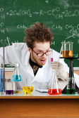 Mad professor is shocked with the result of tests — Stock Photo