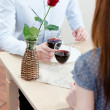 Couple is at the restaurant — Foto Stock