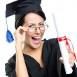 School leaver in glasses with the diploma - Stock Photo