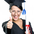 Graduating student with the certificate thumbs up — Stock Photo