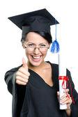 Examen student med certifikat tummen upp — Stockfoto