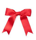 Scarlet satin present bow — Stock Photo