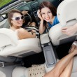 Top view of women in the car — Stock Photo