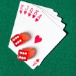 Постер, плакат: Royal Flush poker card sequence with dices
