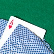 Royalty-Free Stock Photo: Back of the playing cards and ace of hearts