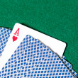 Back of the playing cards and ace of hearts - Stock Photo