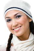 Portrait of pretty woman in knitted cap — Stock Photo