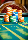 Close up view of piles of chips on the roulette table — Stock Photo