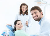 Preparing to treat carious teeth — Stock Photo