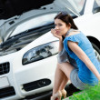 Woman sits on the grass near her broken cabriolet - Stock Photo