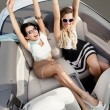Постер, плакат: Top view of women in the cabriolet with their hands up