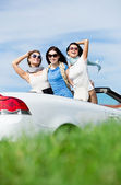 Friends stand in the auto with hands up — Stock Photo
