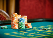 Close up of piles of chips on the roulette table — Stock Photo