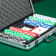 Poker set in silver suitcase — Stock Photo