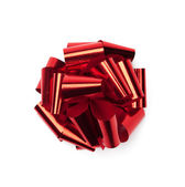 Red satin present bow — Stock Photo