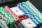 Poker set in the suitcase — Stock Photo