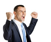 Happy business man with fists up — Stock Photo