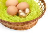 Eggs are in wattled easter basket — Stock Photo