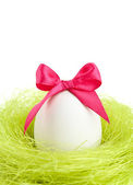 Egg with bow is in the nest of sisal fibre — Stock Photo