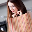 Woman is very pleased with bargains — Foto de Stock