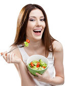 Dieting woman eating salad — Stock Photo