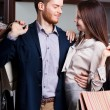 Passionate couple is in the shop — Stock Photo