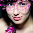 Royalty-Free Stock Photo: Portrait girl with bright make-up and flowers