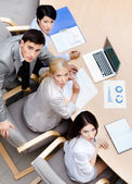 Business at the meeting. Top view — Stock Photo