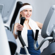 Athlete woman training on gym training in gym — Stock Photo
