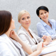Stock Photo: Female colleagues discuss business plan