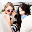 Постер, плакат: Two girls drive the cabriolet
