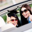 Two girls sitting in the car and thumbing up — Stock Photo #24411689