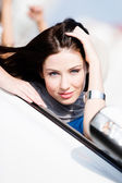 Close up of woman in the car — Stock Photo