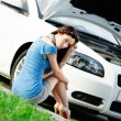 Woman sits on the grass near her broken car — Stock Photo #26135333